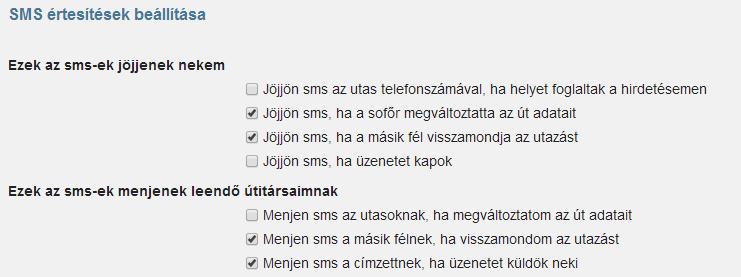 SMS értesítés típusok