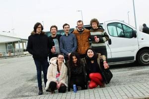 Péter a Ricsárdgír zenekarral úton Pécs felé a koncertre