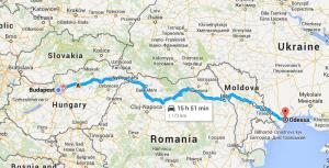 Budapest-Odessza térkép