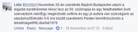 Lídia Facebook bejegyzés