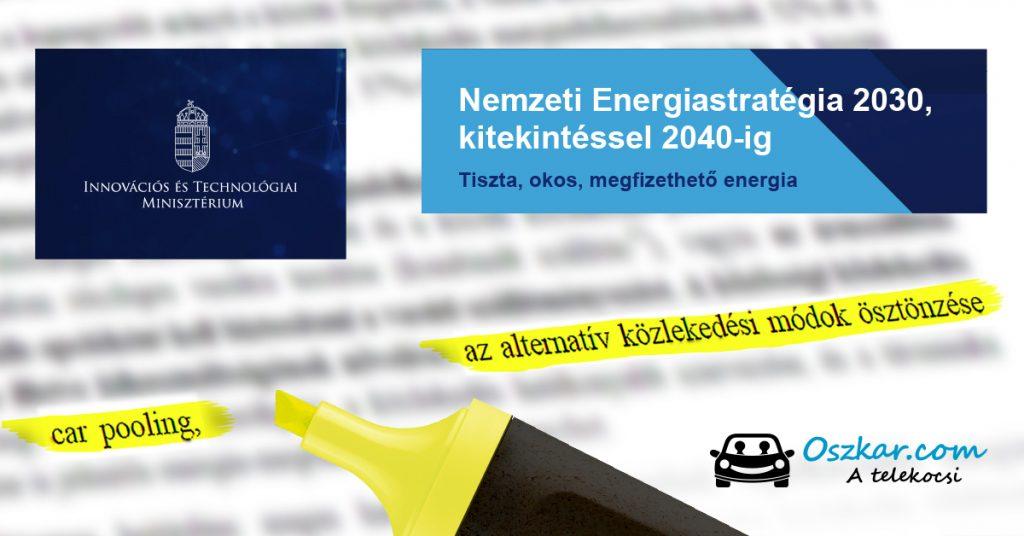 Az energiastratégia alternatív közlekedésre vonatkozó szakasza